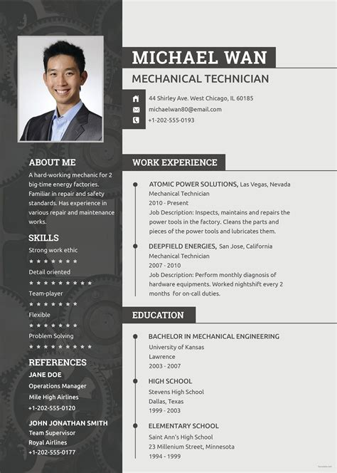 Excellent Cv Templates Free by Free Mechanic Resume Resume Resume Template Free