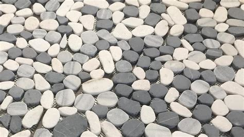 Sliced Pebble Tile Canada by Black And White Pebbles Tumbled Flat Mesh Mosaic Tile
