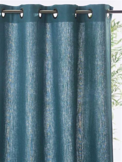rideau 224 oeillets bleu paon craie gris ardoise gris