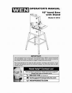 Wen 3912 10 Inch Band Saw User Manual