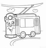 Coloring Pages Trolleybus Raskraska sketch template