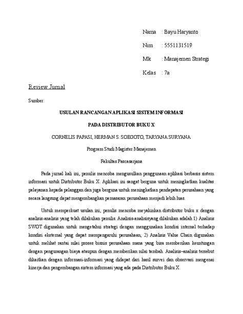 (DOC) review jurnal analisis swot dan value chain | Bayu