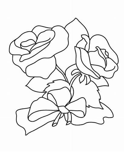 Coloring Roses Pages Flower Rose Hearts Bow