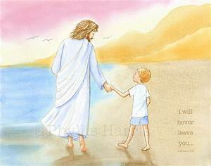 Children's Wall Art Jesus and little boy walking on the