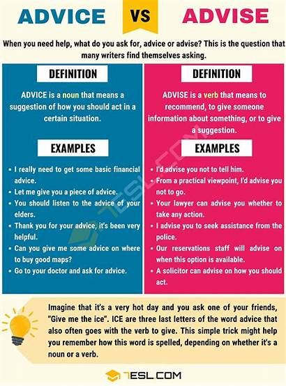 Advise Advice Vs Difference Between Examples Definition