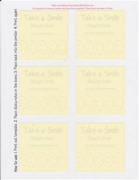 post it note template take a smile post it note template printout postit postitproducts stuckathomemom