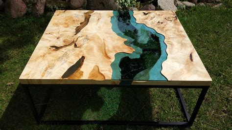   epoxy resin side tables are handcrafted by chagrin valley custom furniture in ohiolive edge waterfall coffee table. SOLD Live edge river coffee table with transparent epoxy inlay