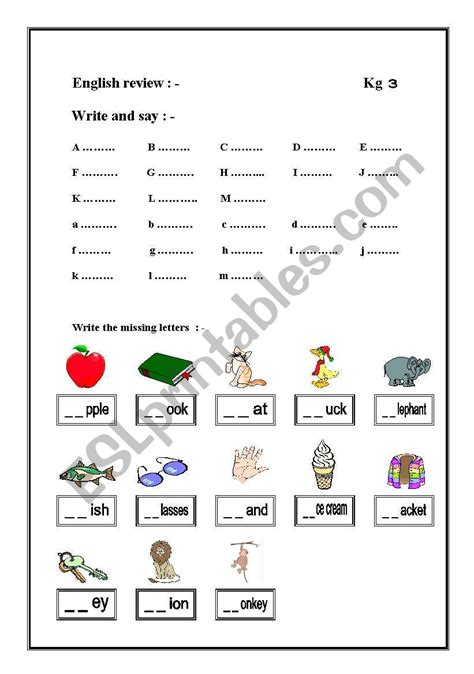 worksheets for kg2 english worksheets kg2 worksheet
