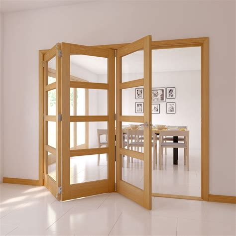 panel  lite oak veneer glazed internal folding door