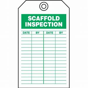 Safety inspection tags scaffold inspection seton for Scaffold inspection checklist free template