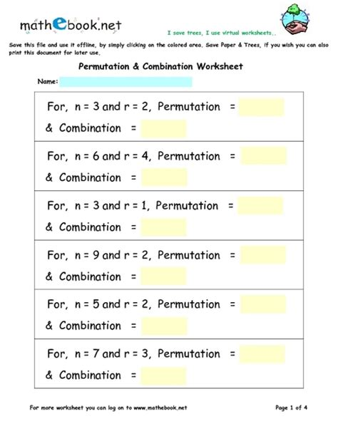printables permutations and combinations worksheet