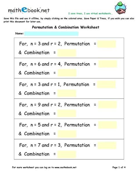 Printables Permutations And Combinations Worksheet Lemonlilyfestival Worksheets Printables