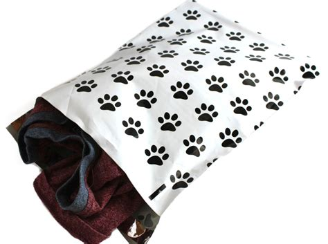 decorative flat poly mailers 50 happy paws print 10 x 13 flat poly mailers