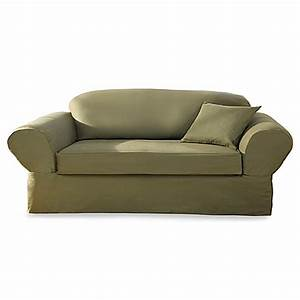 cotton twill loden 2 piece sofa slipcover by sure fit With cotton twill sofa slipcovers