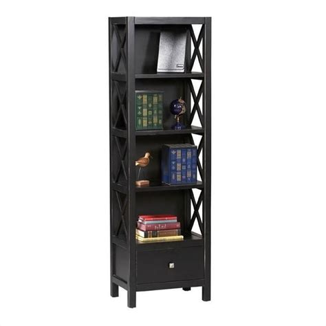 5 shelf narrow bookcase tall narrow 5 shelf bookcase in antique black k86102c124