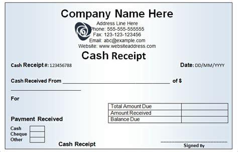 Cash Receipt Form Examples