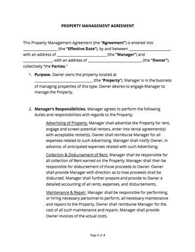 property management agreement  sample docsketch