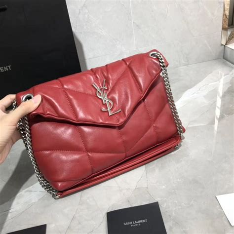 yves saint laurent loulou puffer small bag  quilted crinkled matte leather  red