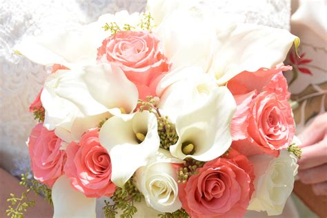 Hawaii Wedding Flowers Coral And White Calla Lily Rose Bouquet