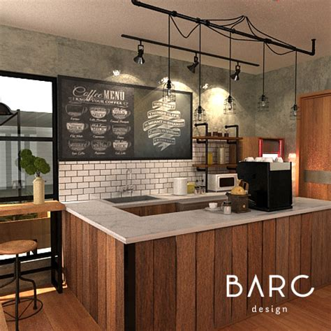 kitchen bar counter industrial cafe design barcdesign