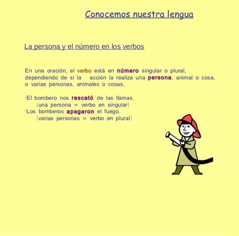 la persona y el numero de los verbos