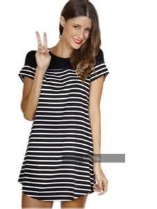 dress stripes black and white t shirt dress wheretoget