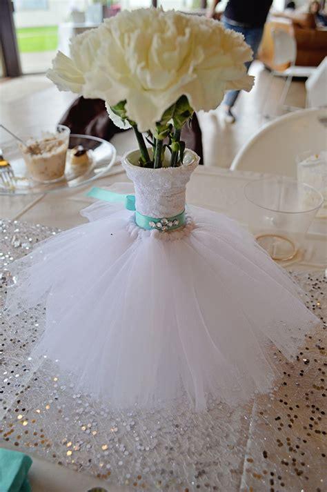centerpieces for bridal shower wedding dress bouquet vase floral arrangement teal bling belt lace tulle bridal shower
