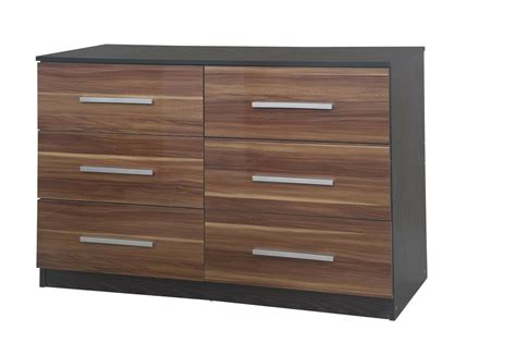 Black Wide Chest Of Drawers by Lotus 6 Drawer Wide Chest Of Drawers High Gloss Walnut