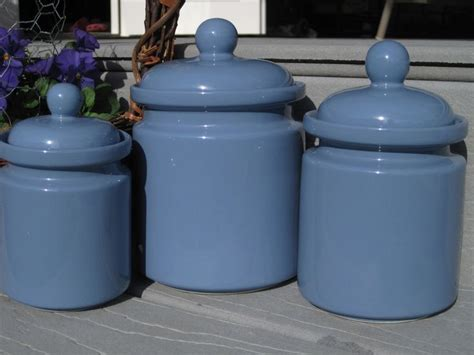 blue kitchen canister set periwinkle blue canister set 3 canister set