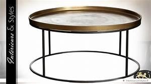 Table Basse Dorée : table basse ronde en inox finition dor e vieillie 88 cm int rieurs styles ~ Teatrodelosmanantiales.com Idées de Décoration