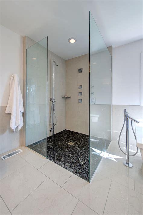 pebble tile shower floor bathroom contemporary with built in shelves chrome faucet