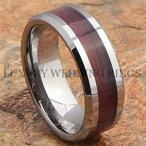 tungsten mens ring wood wedding band bridal jewelry With mens wedding rings with wood