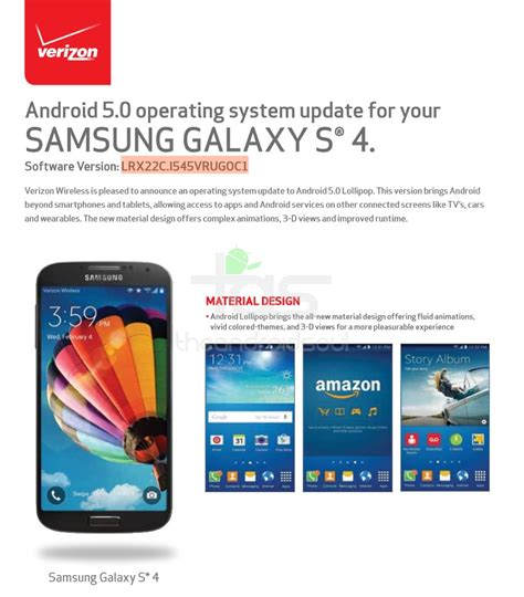verizon android update verizon galaxy s4 lollipop update now rolling out build