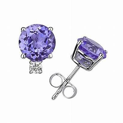 Earrings Stud Tanzanite Diamond Round 14k Jewelry