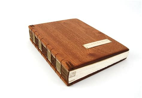 hand  handmade guest book mahogany wood book large