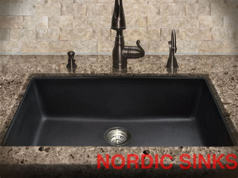 N S Large Black Granite Composite Undermount Kitchen Sink