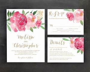 printable wedding invitation template set floral wedding With watercolor flower wedding invitations free