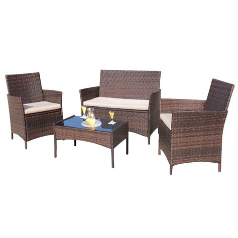 Balcony Furniture Set by Homall 4 Pieces Outdoor Patio Furniture Sets Rattan Chair