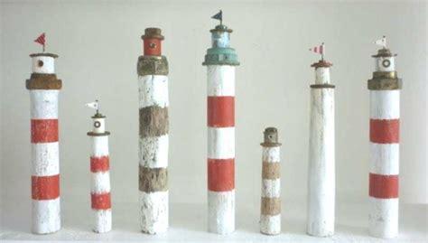 malen sie leuchttuerme aus dicken aesten leuchtturm deko
