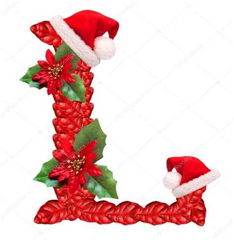 christmas letter l with santa claus cap stock photo