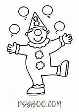 Clown Juggling Cartoon Coloring Simple Printable sketch template