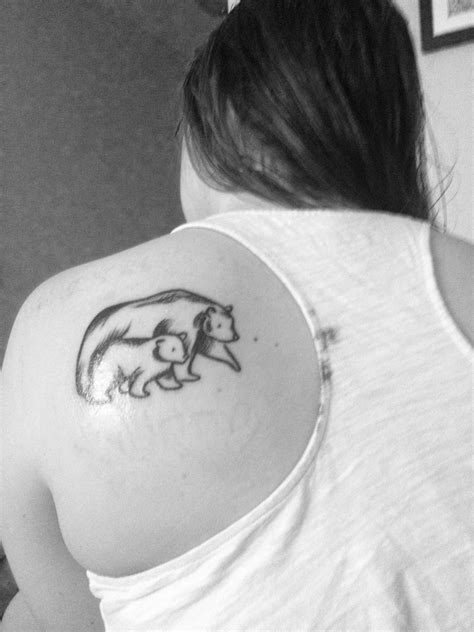 Mother and baby bear sketch tattoo on my shoulder. I drew the design myself! | Baby bear tattoo
