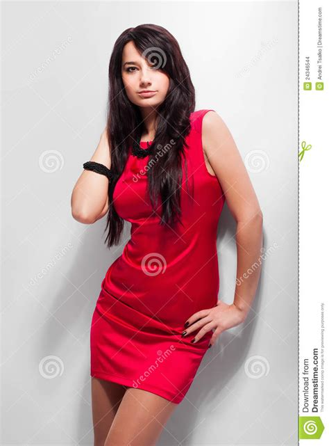Beautiful Model And Dressed Beautiful Model In Dress On Grey Background Stock
