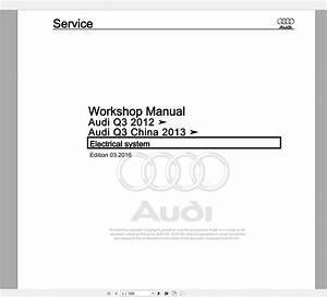 Audi Q3  Typ 8u  2011 U20132018 Workshop Manuals Wiring
