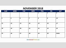 November 2018 Blank Calendar Printable