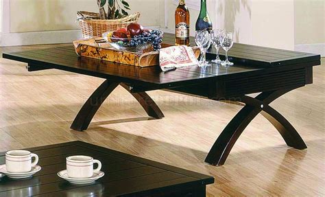 fold out table top dark brown contemporary coffee table w fold out table top