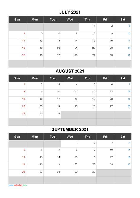 printable calendar july august september