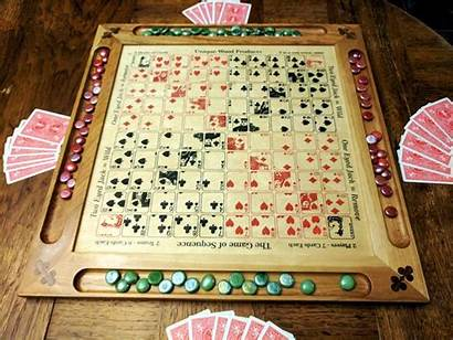 Sequence Board Painted Engraved Games Wooden Wood