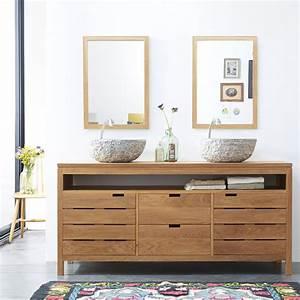 Salle De Bain Meuble : meuble sous vasque en chne massif pour salle de bain ~ Dailycaller-alerts.com Idées de Décoration