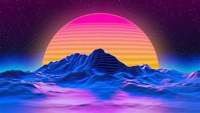 Retro Sunset Landscape Mountains 4k Uhd Widescreen